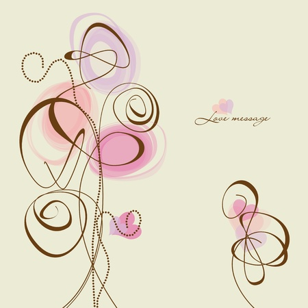 twirls: Flowers and hearts, calligraphic design elements