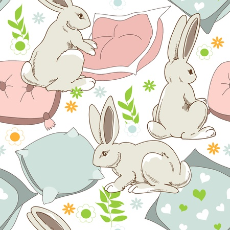 bedclothes: Cute rabbits go to sleep, seamless pattern for children Illustration
