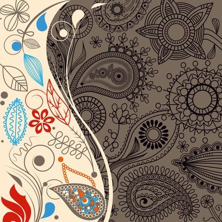 Floral paisley background, retro border Vector