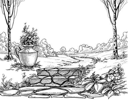 公園の鉛筆画の石段  イラスト・ベクター素材