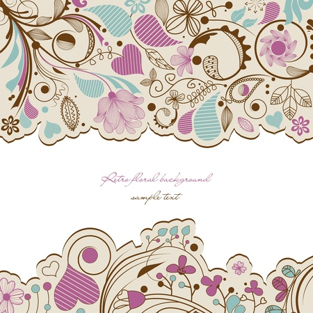 Retro floral frame Stock Vector - 13219478