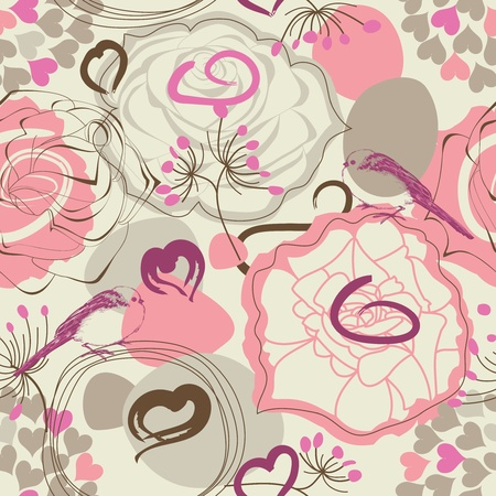 Retro floral seamless pattern with birds Vector