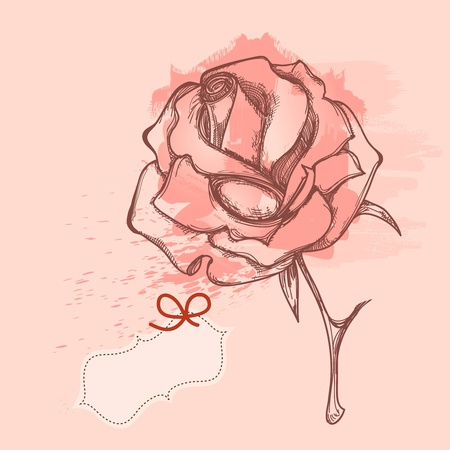 Grunge rose, love message Vector