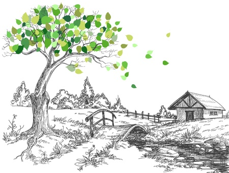 sketch: Groene bladeren lente boom, landschap, brug over de rivier