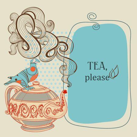 Tea or coffee panel with decorative bird Stock Vector - 13219479