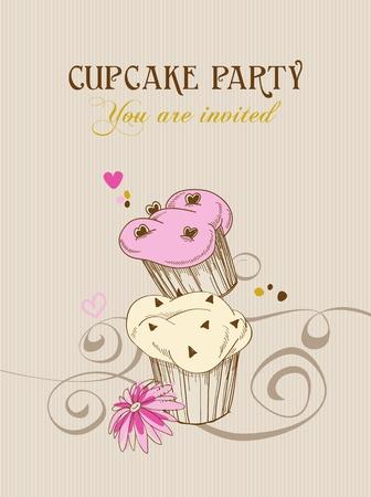 confection: Retro cupcake party invitation Illustration