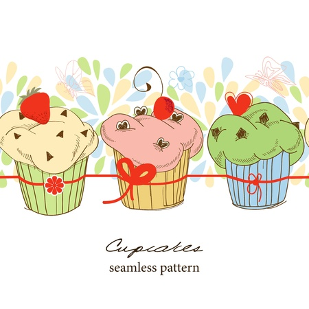 Cute fruit cupcakes seamless pattern Vector