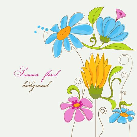 Summer colorful flowers Stock Vector - 13459102