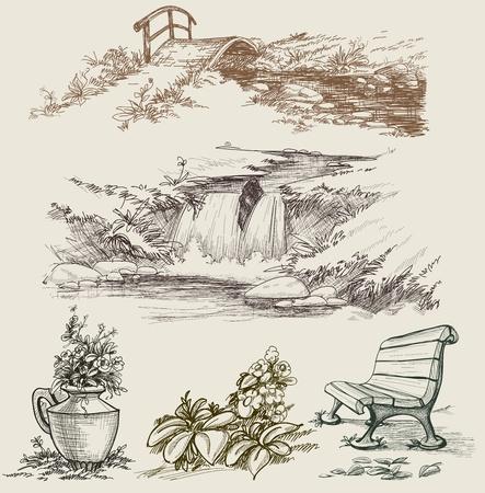 bassin jardin: Parc ou jardin design des �l�ments d'esquisse Illustration