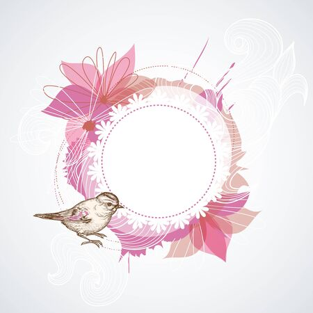 circle of life: Summer floral frame