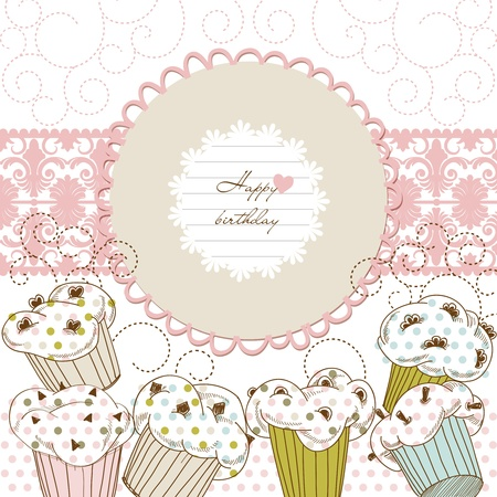 confection: Cupcakes background lace frame