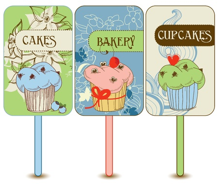 Retro cupcakes labels Vector