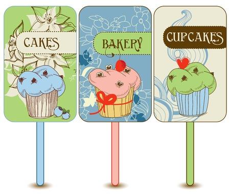 Retro cupcakes labels Vector