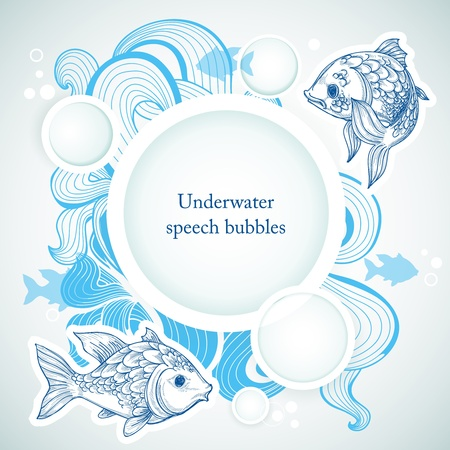 seafood background: Sea background with fish and speech bubbles Illustration