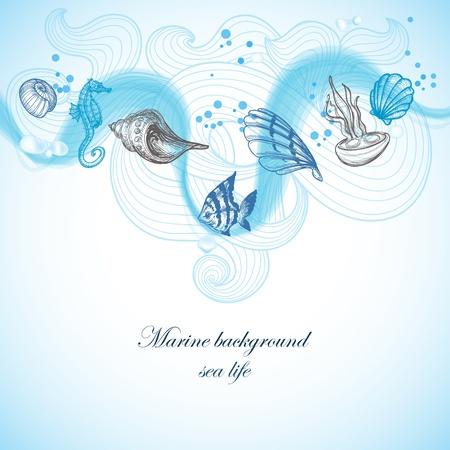 Sea background, marine fauna hand drawn elements