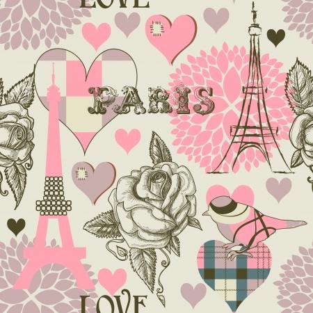 paris vintage: París, sin fisuras patrón