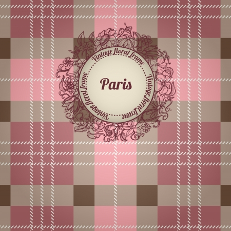 Vintage Paris background, album cover with floral label Vector