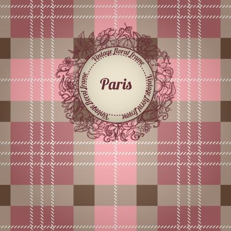 Vintage Paris background, album cover with floral label Vector