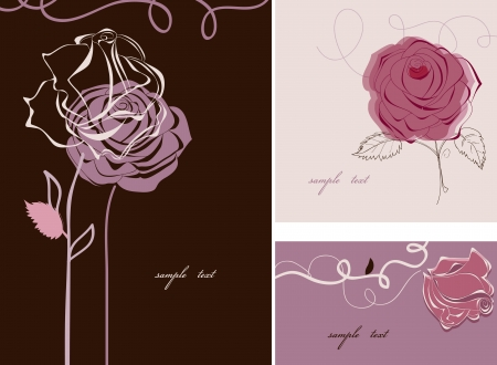 Roses card collection Vector