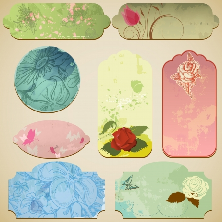 Vintage paper tags with floral decorations  Vector