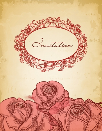 Vintage roses background and floral frame for text  Vector