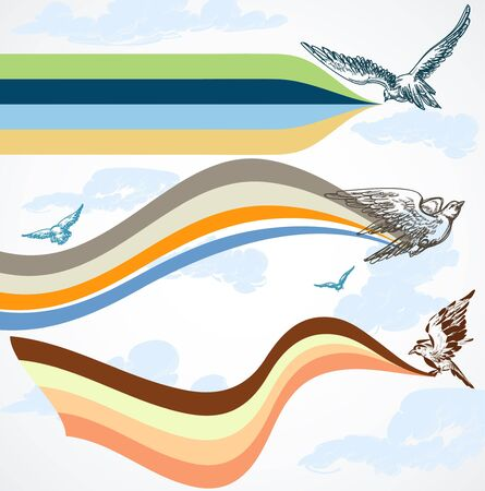 cheer up: Birds flying colorful banners in the sky Illustration