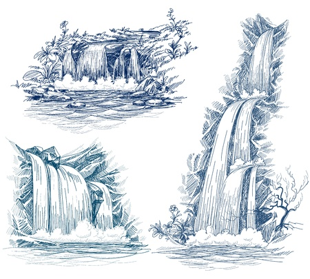 pond water: Water falls drawing Illustration
