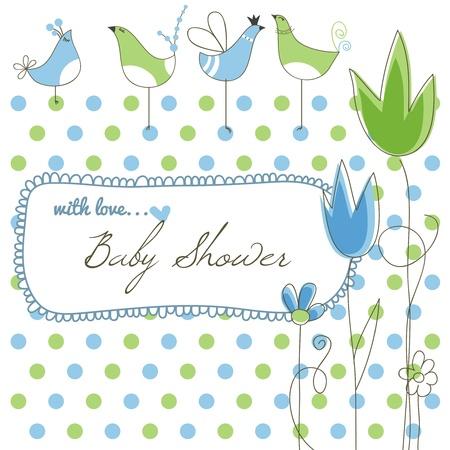 Cute Baby-Dusche, Blumen und Vögel