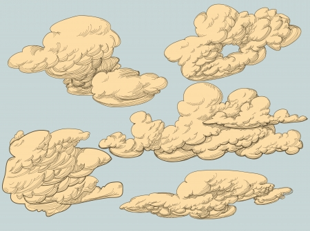 freehand drawing: Retro style clouds