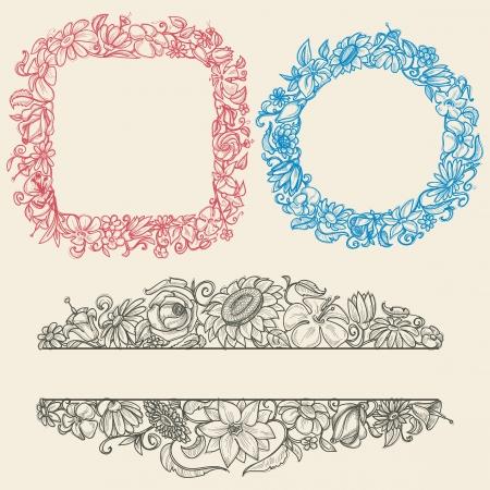 Vintage flower frames Vector