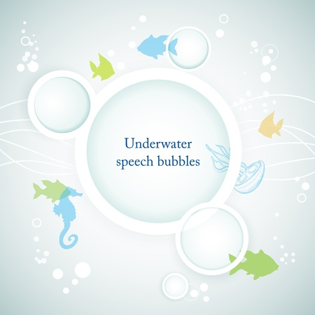 Underwater speech bubbles, marine life  Vector