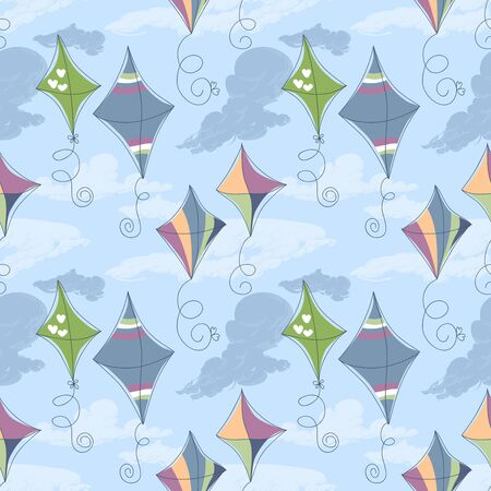 Kites over blue sky seamless pattern