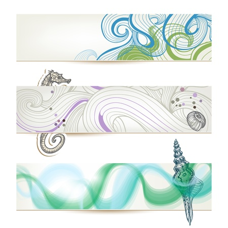 shell pattern: Sea and beach stylish banners
