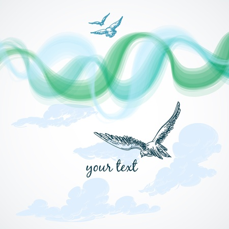 drawing dove: Birds in the sky background