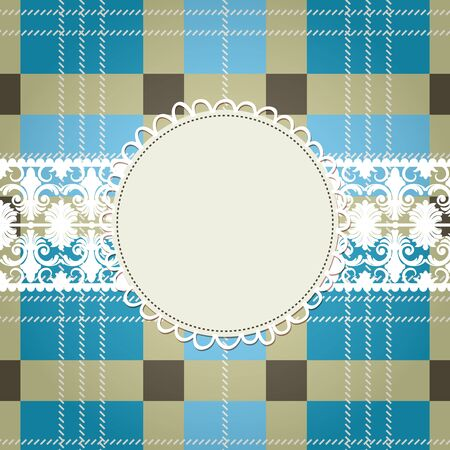 checker plate: Textile background, white lace frame Illustration