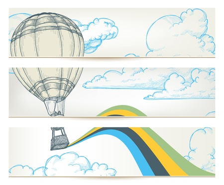 Hot air balloon over sky banners  Vector