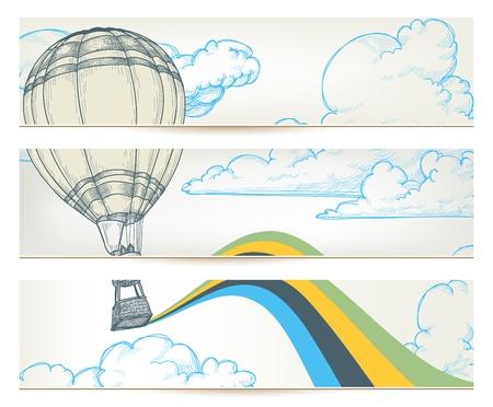 balon: Hot air balloon over sky banners  Illustration