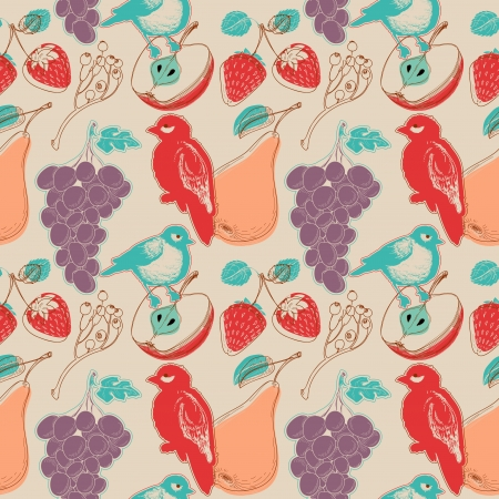 Fruits and birds retro seamless pattern Stock Vector - 14077364