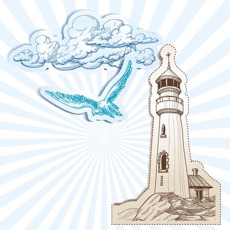 gaviota: Faro y el cielo de fondo