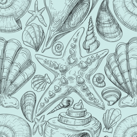 Beach seamless pattern with shells and starfish sketch Vector