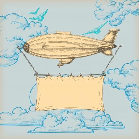 luftschiff: Blimp fliegenden Banner für Text über blauen Himmel