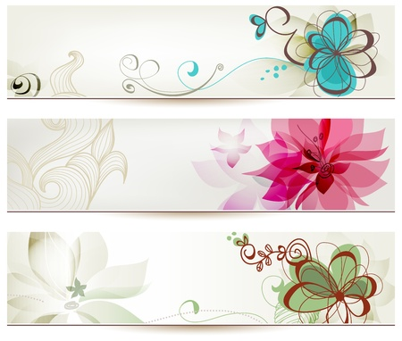flower: Floral banners in retro style