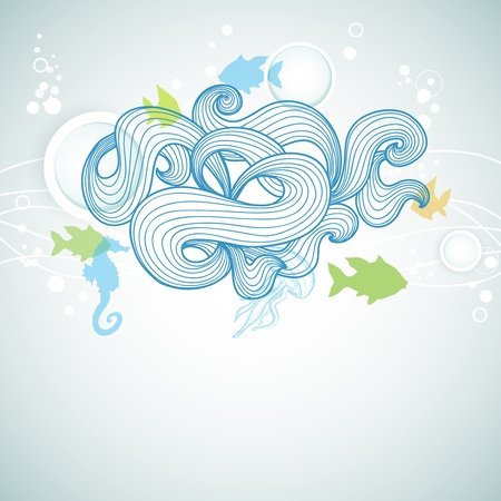 Abstract sea waves and marine life background Vector