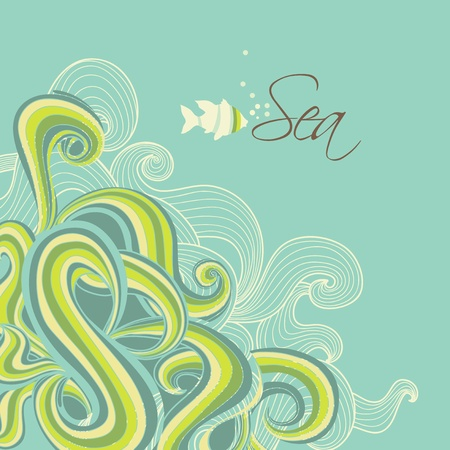 Retro sea waves marine background Vector