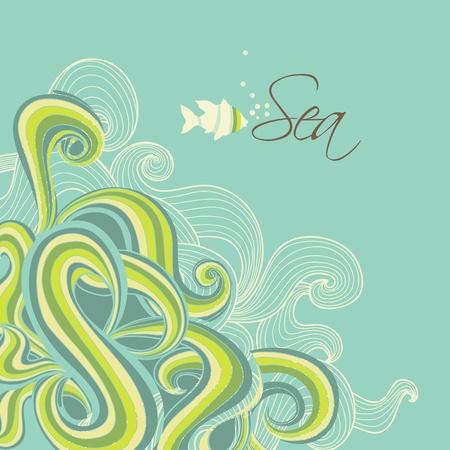 Retro sea waves marine background Vector