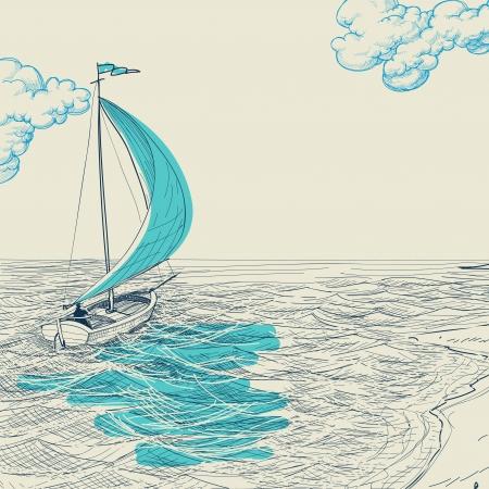 deportes nauticos: Vela de fondo Vectores