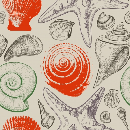 conch shell: Sea shells retro seamless pattern