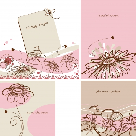 pink daisy: Various floral cards, retro style