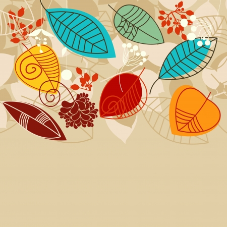 Fall background with leaves in bright colors Vector