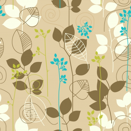 Retro fall leaves seamless pattern